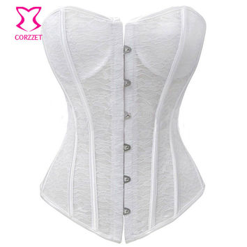 Open Floral Lace Bustier Corset White Sexy Bridal Wedding Lingerie Corselet Overbust Padded Cup Push Up Corsets and Bustiers
