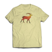 Big Racked Polygon Elk Yellow Tshirt