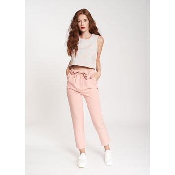 HIGH WAISTED PANTS IN LIGHT PINK CREPE EOLIA