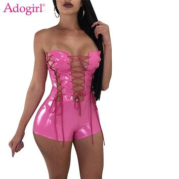 Adogirl Grommet Lace Up PU Leather Playsuit Women Sexy Strapless Bandage Jumpsuits Shorts Romper Night Club Overalls Bodysuits