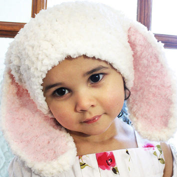 6 to 12m Easter Bunny Hat, Baby Pink Bunny Ears, Bunny Baby Hat, Cream Bunny Beanie, Bunny Rabbit Hat, Soft Bunny Photo Prop