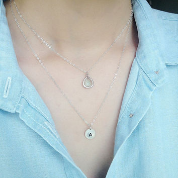 Double Layered sterling silver initial necklace, personalized discs, Monogram,blue zircon bezel glass,sister,mother and baby,couple