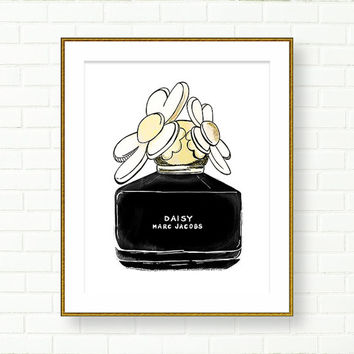 Daisy Perfume Art Print, Fashion Illustration, INSTANT DOWNLOAD, Vanity Decor, Black Yellow, Perfume Bottle, PRINTABLE, Marc Jacobs Perfume