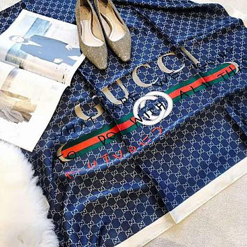 GUCCI Popular Women Comfortable Sunscreen Cape Silk Shawl Scarf Scarves Accessories Blue
