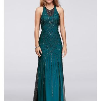 Illusion Sheath Gown with Allover Deco Beading - Davids Bridal