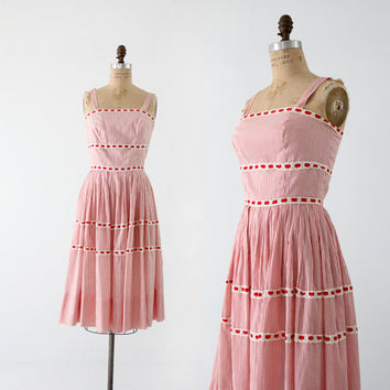 1950s sundress,  Saks Fifth Avenue pinstripe dress