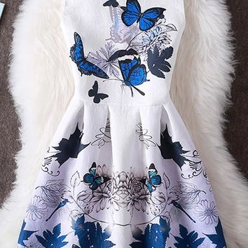 White Butterfly Print Zipper Pleated Sleeveless Elegant Mini Dress