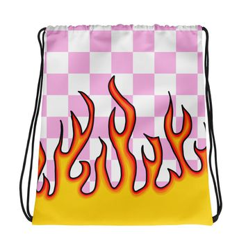 Pink Checkerboard Flame Drawstring Bag