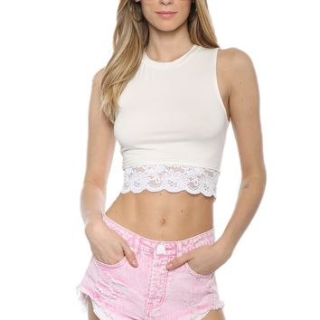 Gab & Kate Lace Detailed Crop Top