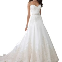 Harshori Strapless Sorded Lace Tulle And Satin A-line Wedding Dress 16 Ivory