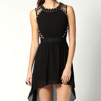 Tarryn Stud Cut Out Mesh Mixi Dress