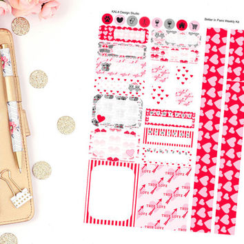 Erin Condren Better In Pairs Valentine Weekly Kit Planner Stickers! Perfect For Erin Condren Life Planner,Happy Planner, Personal, Calendar!