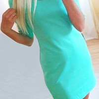 Light Blue Half Sleeve Mini Dress