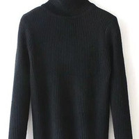 Black Turtleneck Ribbed Long Sleeve Sweater