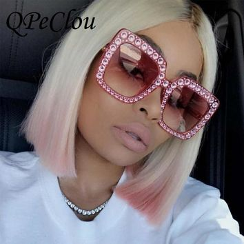 QPeClou Luxury Diamond Square Sunglasses Women Brand Oversized Crystal Sun Glasses Ladies 2017 New Gradient Oculos Mirror Shades