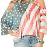 UNDERSTAR STARS AND STRIPES COLD SHOULDER TEE | Swell.com