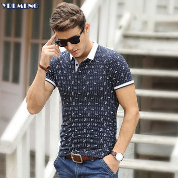 2016 Short  Sleeve Mens  Polos Homme Turn Down whiteCollar Tops Cotton Dot Brand Golf  Fashion Striped  xxxl  Solid Clothing