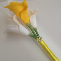 White & Yellow Calla Lily Bouquet, Toss bouquet, Flowergirl  bouquet, Bridesmaid bouquets, Quinceanera bouquet, Yellow bouquets