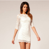 Lace Crochet Long Sleeve Mini Dress