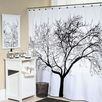 "Tree Silhouette Fabric Shower Curtain 70"" x 72"" - Splash Home - Walmart.com"