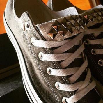 CREYONB Custom Studded Gray Converse All Stars - Chuck Taylors - ALL SIZES & COLORS!