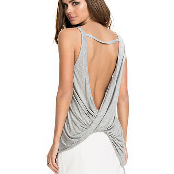 Grey Ruched Backless Tank Top