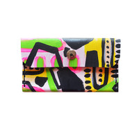 Hand Painted Leather Wallet, Coin Purse, Neon Geometric Card Holder | Boo and Boo Factory - Handmade Leather Jewelry