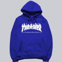 """Thrasher"" skateboard fleece male add wool cotton hoodie flame Blue"