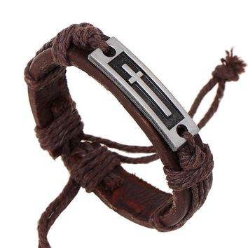 Rope and Leather Bracelet with Cross Logo