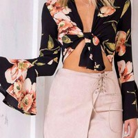 Black V-Neck Knot Front Floral Print Long Trumpet Sleeve Blouse