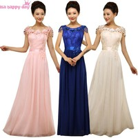 royal blue plus size lace and chiffon bridesmaid pink dress for formal brides maids dresses for wedding party guests B2699