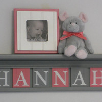 """Gray and Pink Baby Girl Nursery Decor - HANNAH - 24"""" Grey Shelf with 6 Wooden Letter Plaques"""