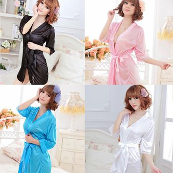 Satin Lingerie Pajamas Set Has Lace Robe Nightdress and G-string