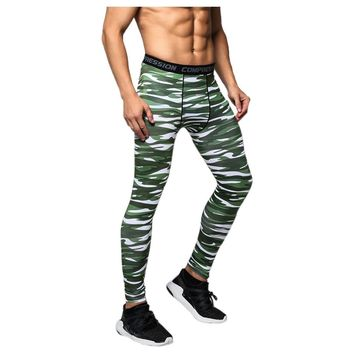 Men Compression Long Pants Running Base Layers Skins Tights Army Camouflage Soccer Joggers Trousers(Stripes green )