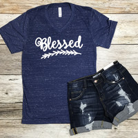 Blessed Tee- Navy