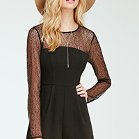 Pleated Lace-Paneled Romper