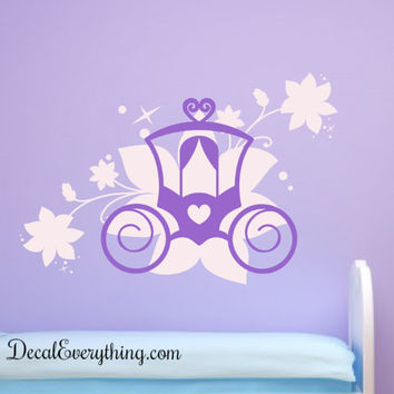 Flower Chariot Vinyl Decal - Two Color Design
