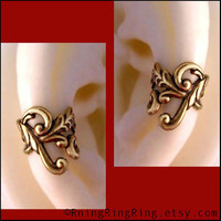 2 Antiqued gold brass Empire ear cuffs for your by RingRingRing