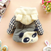 12m,18m,24m,2y,3y,4y baby winter coat toddler clothes cartoon coat panda - plaid coat