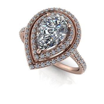 Pear Shape Double Diamond Halo Engagement Ring - Celestial Premier Moissanite