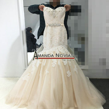 2017 Champagne With Ivory Color Wedding Dress Mermaid Real Pictures