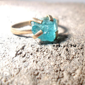 Rough Apatite Mineral Specimen Brass Layering Stacking Gold Ring