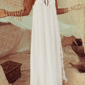 White Hollow Out Side Split Sheer Beach Cover-up