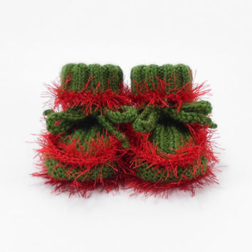 Baby Booties, Green with Red Baby Boots, Hand Knit Baby Infant Shoes, 0 to 6 months