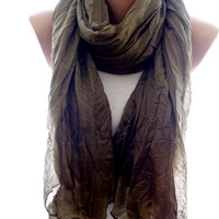 Brown scarf, crinkle brown scarf, scarves for women, cozy scarf, trendy scarf