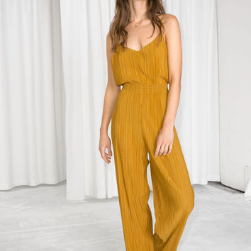 Pleated Plissé Trousers - Mustard - Wide Trousers - & Other Stories US