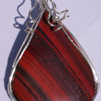 "Jasper w hematite wrapped in sterling with a large bail  3"" long"