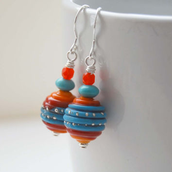 Southwestern Earrings, Ridged Earrings, Lampwork Glass Earrings, Red Turquoise Earrings, Beaded Earrings