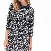 FOREVER 21 Bow Print Shift Dress Black/Cream