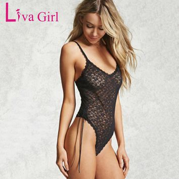 Liva Girl Black Sexy Strap Lace Bodysuit Semi-sheer Women Bodycon Short Jumpsuit Hollow Out Backless Bodysuits Playsuits Overall